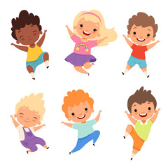 Jumping kids. Happy school children smile laugh boys and girls playing vector cartoon characters. Illustration of happy cartoon school boy and girl
