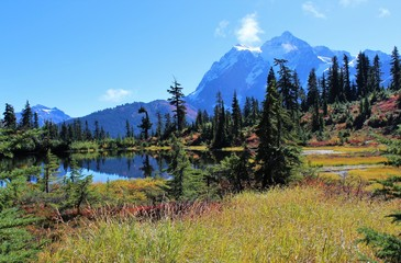 Stunning view of Mount Shuksan and fall colors around Picture Lake in the North Cascade mountains