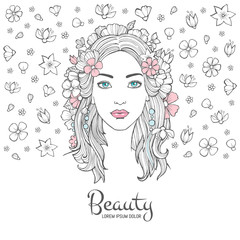 Cute woman portrait. Glamour fashion young beautiful woman flowers in hair and smile face vector background with place for your text. Illustration of face portrait, fashion young woman