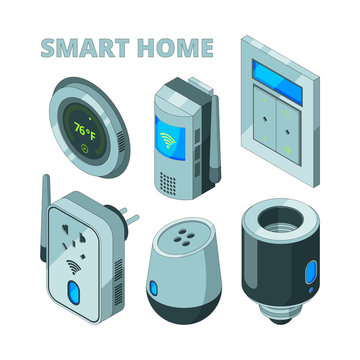 Smart house equipment. Movement sensors electric socket security cam vector isometric pictures. Illustration of home technology automation, panel supply, thermometer and switch