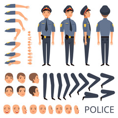 Policeman constructor. Security bodyguard profession character creation kit with shotgun various poses cap officer uniform. Construction part for animation and create illustration vector