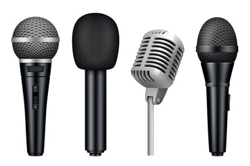 Microphones 3d. Music studio misc mic equipment vector realistic pictures of vintage style microphones isolated. Illustration of mic media, microphone for karaoke and concert