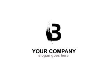Letter  B Brush Logo Design Concept