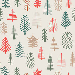 Christmas tree background. Vector seamless pattern repeat tile. Green, brown, red doodle tree. Scandinavian Christmas backdrop. Fabric, paper, gift wrap, card, web banner, invitation, pagefill, decor