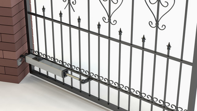 Automatic opening gate - white background