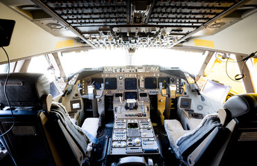 High angle view of cockpit in airplane