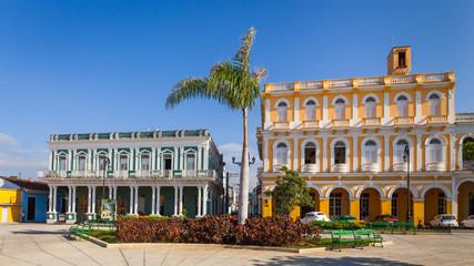Colonial houses facing Serafin Sanchez Park, Sancti Spiritus, Cuba