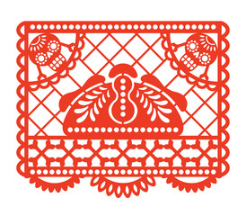 Dia de los Muertos. Papel Picado. Vector illustration of traditional Mexican paper cutting with bread of the dead, skulls and bones. Isolated on white