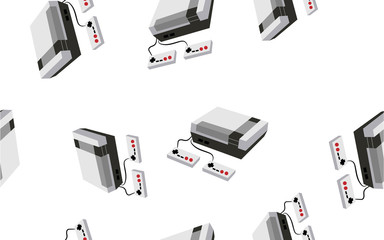 Texture, a seamless pattern of volumetric isometric video game consoles for computer and video games. The background. illustration