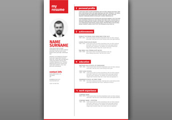 Resume Layout with Red Headers