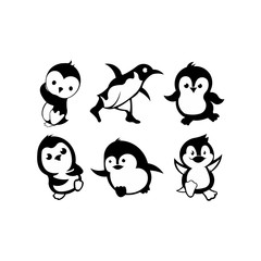 penguin bird animal silhouette cartoon vector icon