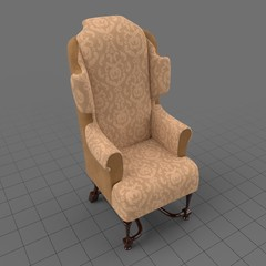 Ornate wing chair