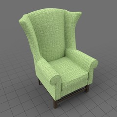 Patterned wing chair