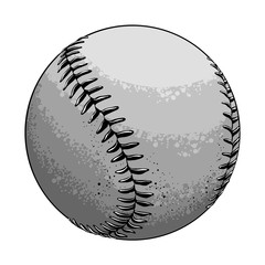 Hand drawn sketch baseball ball in black and white color, isolated on white background. Detailed drawing in the style of vintage. Vector illustration