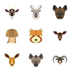 Animal icon set. Flat set of 9 animal vector icons for web design