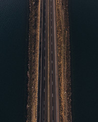 High angle view of road amidst river