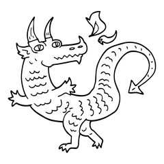 line drawing cartoon dragon