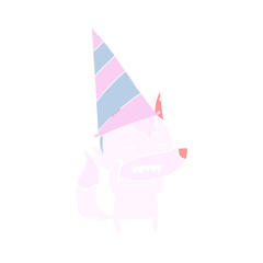 flat color style cartoon wolf in party hat