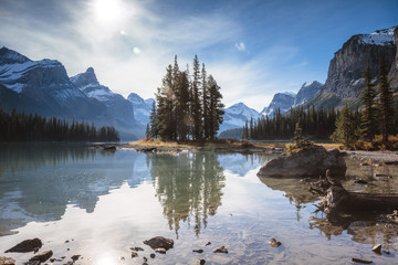 Scenic view of Maligne lake by snowcapped mountains against sky at Jasper National Park during sunset