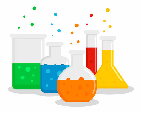 Chemical flask set concept background. Flat illustration of chemical flask set vector concept background for web design