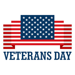 Usa veterans day logo. Flat illustration of usa veterans day vector logo for web design