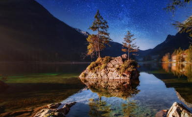 Majestic Alpine Landscape. Sunset with star sky over Hintersee lake. Bavaria. Germany. Painterly Scene in European Alps. Popular Photography Locations. Ideas for Great Travels. Instagram Filter