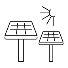 Solar panel icon. Outline illustration of solar panel vector icon for web design isolated on white background