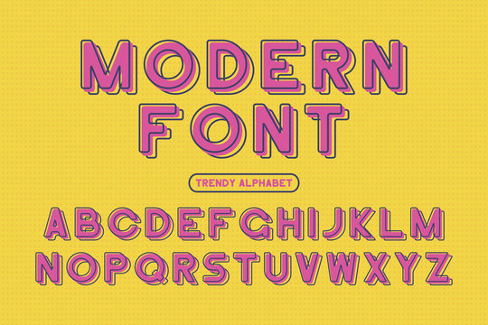 Modern sans serif font. Rounded framed alphabet with offset effect. Stylized colorful typeface. Vector Illustration.