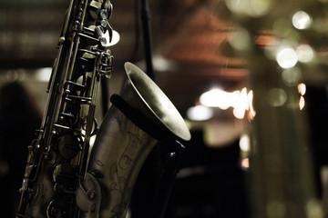 Saxophone and bokeh lights