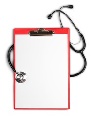 Clipboard stethoscope medical record medical blank isolated