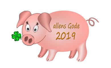 Allens Gode 2019, Glücksschwein mit Kleeblatt, plattdeutsch, weißer Hintergrund