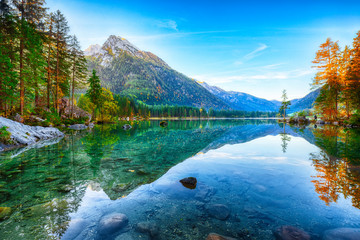 Beautiful autumn sunrise scene with trees near turquoise water of Hintersee lake Wall mural
