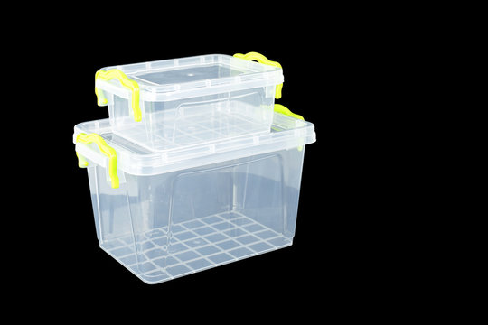 Home and garden - Big and small plastic storage black background