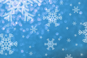 Snow illustration./ Winter background white on blue texture