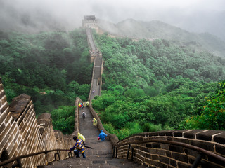 The Great Wall Badaling section with clouds and mist, Beijing, China