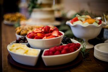 Arrangement of fruit on table.