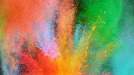 Multi-color powder explosion on black background Wall mural