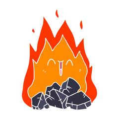 flat color style cartoon blazing coal fire