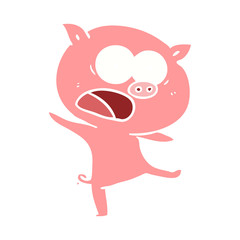 flat color style cartoon pig shouting