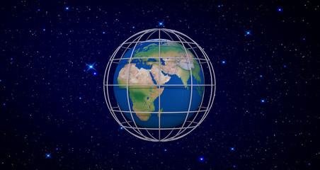 Earth globe in prison cell 3d render 3d illustration