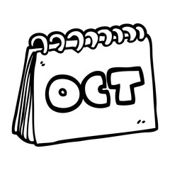 line drawing cartoon calendar showing month of october