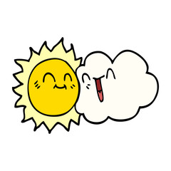 cartoon doodle happy sunshine and cloud