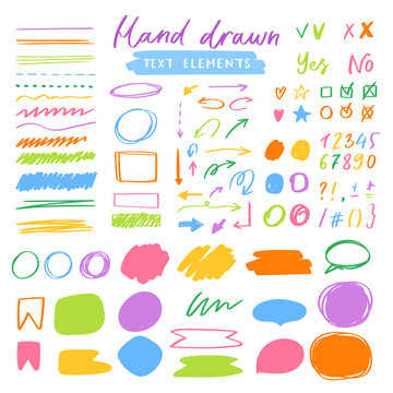 Highlighter markers vector highlighting with hand drawing elements or numbers to select and highlight text illustration set of marked lines and arrows isolated on white background