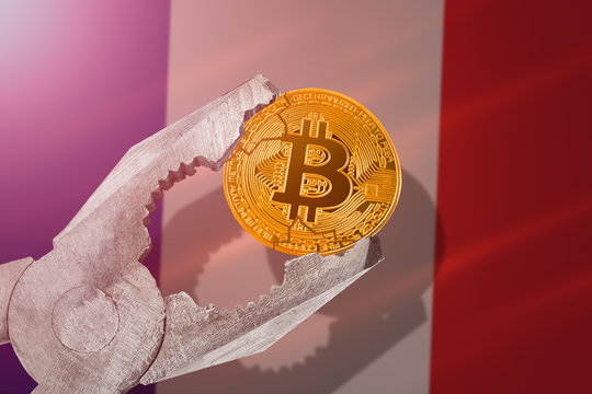 Bitcoin regulation in France; bitcoin btc coin being squeezed in vice on France flag background; limitation, prohibition, illegally, banned