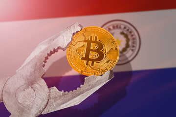 BITCOIN (BTC) coin being squeezed in vice on Paraguay flag background; concept of cryptocurrency bitcoin under pressure. Prohibition of cryptocurrencies, regulations, restrictions or security