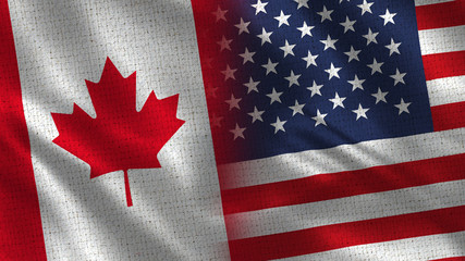 Canada and Usa - 3D illustration Two Flag Together - Fabric Texture