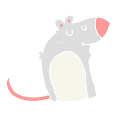 flat color style cartoon fat rat