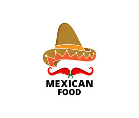 mexican hat chili hot and spicy food vector logo design inspiration