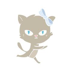 cute flat color style cartoon cat running