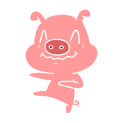 nervous flat color style cartoon pig dancing